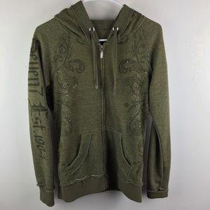 SEVEN Studded Zip Front Hoodie